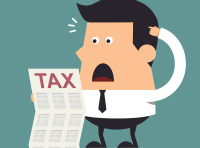 man reacting to Japanese tax bill